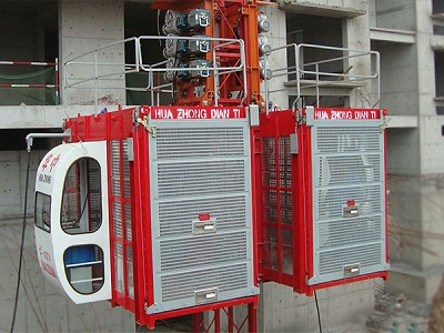Single cage and double cage construction hoist
